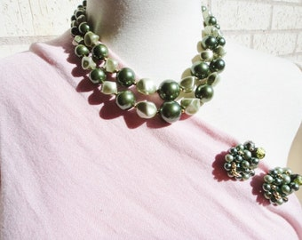 Green Chunky Vintage Necklace with Matching Earrings