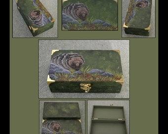 Hedgehog Wooden Trinket / Jewellery Box Hand Painted - SALE