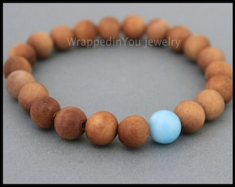 SANDALWOOD and Larimar Stretch Bracelet - 8mm Dominican Larimar / Scented Sandalwood Mala Wood Gemstone Beaded Stackable Bracelet - USA