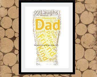 Personalised Pint Print, Pint Word Art, Pint Word Cloud, Pint Word Collage, Beer Themed Gift, Fathers Day Gift, Ale Drinker Gift