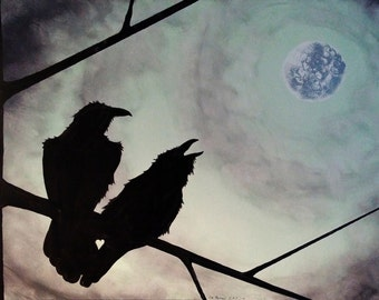 "Raven's ""Partners"" 24""x 36"" Acrylic painting on canvas. Home decor, wall decor, wall art"