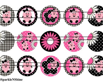 Piggie   1 inch flat back, pin backs, hollow back buttons, bottle caps, scrapbooking, crafts, bow centers- set of 15.         C78