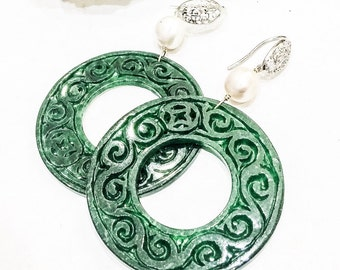 Large Carved Jade and Pearl Earrings