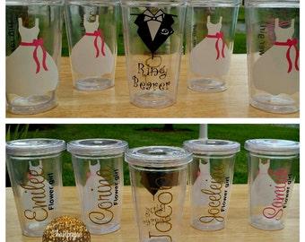 Set of 2--Flower Girl Tumbler, Ring Bearer Tumbler, Personalized Tumbler, Wedding Party Gift, Bridal Party Gift, Acrylic Tumbler, Bride Gift