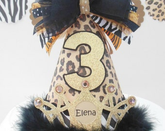 Lil' Wild One Party Hat - Cheetah Animal Print, Zebra, Tiger, Glitter Gold -  Birthday Party Hat - Personalized