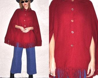 70s Red Burgundy Wine Knit Waffle Sweater Fringe Cape
