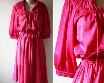 1970s pink summer dress // boho dress // vintage dress