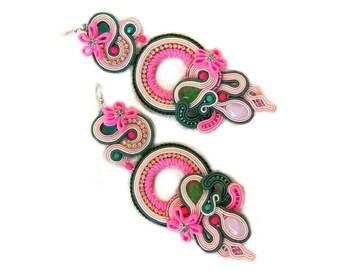 Neon Earrings, Oriental Earrings, Rainbow earrings, Colour Earrings, Soutache Earrings, Statement Jewelry, Dangle Earrings, Pink Earrings