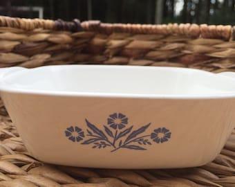 Vintage Corning Ware Casserole Baking Dish in Blue Cornflower Pattern P41