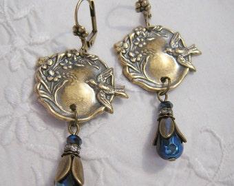 Art Nouveau Victorian Vintage Style Bird Flower Dangle Earrings AB Metallic Blue Black Glass Bead Earrings Ox Antique Brass Lever Back
