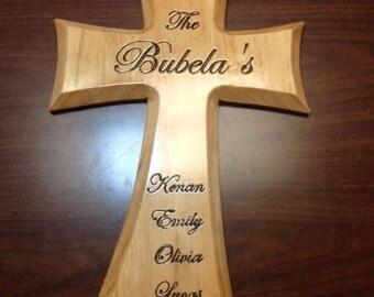 "XL Personalized Handmade Wood Cross 16"" x 10"""
