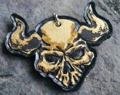 Wasteland Oddities Hand Tooled and Painted Leather -Horned Skull- Tag! Gold