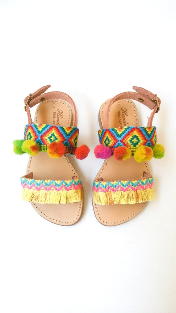 Moana Leather Fringe Little Girls Sandals