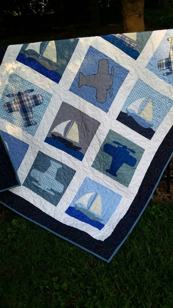 Airplane Crib Quilt Boat Quilt Vintage Airplanes And Boat