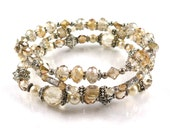 Champagne and Ivory Stackable Stretch Bracelets - Set of Three Stretch Bracelets - Ivory Frost