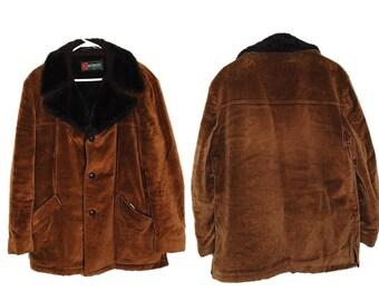 Vintage 70s Coat, McGregor Coat, Corduroy Coat, Rancher Coat, Sherpa Lining, Car Coat, Men's Size 42 Coat, Winter Coat, Brown Coat,