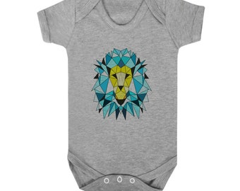 Hipster baby bodysuit, artsy infant gift, geometric lion babygrow, unique kids clothes, hand painted