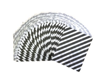 Black Diagonal Stripe Candy Treat Bags, Party Favor Bags, Party Supplies