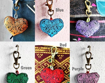 Cute Colorful Heart Keychain Zip Pull Bag Accessory Decoration by Handmade. (AC1001)