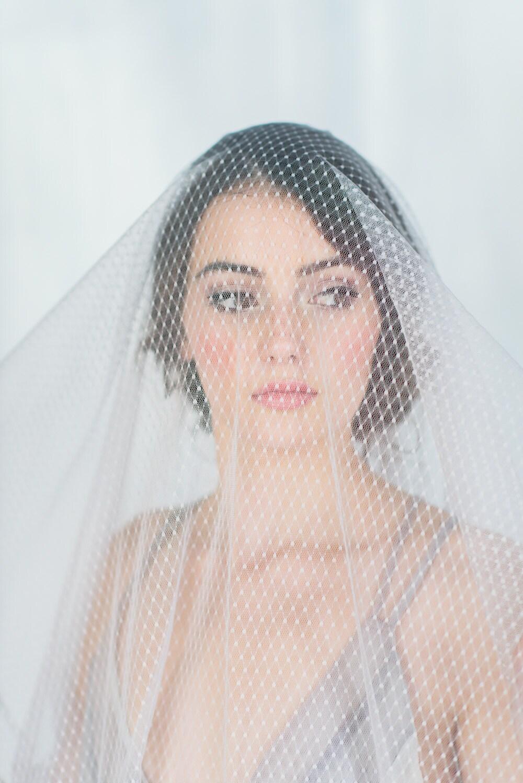 Bridal Drop Veil Polka Dot Veil Wedding Veil Grey Bridal