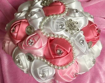 Wedding bouquet, Dusty Rose BOUQUET- Wedding Brooch Bouquet, Jeweled Bouquet, brooch Bouquet, JLB1111