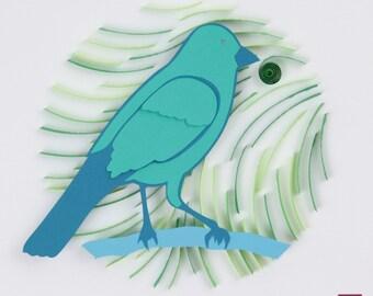 3D Layered Paper Quilling Blue Bird