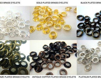 100) 5mm ID Brass Eyelets, Black, Silver, Gold, Antique Bronze, Antique Copper or Platinum, Plated EYELETS, Grommets, Leather supplies