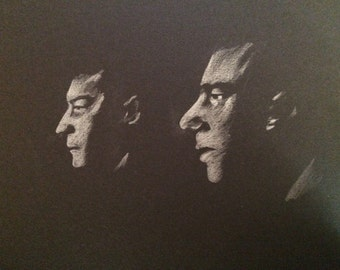 The Kray Twins original drawing .A4 fan-art. Ronnie Reggie