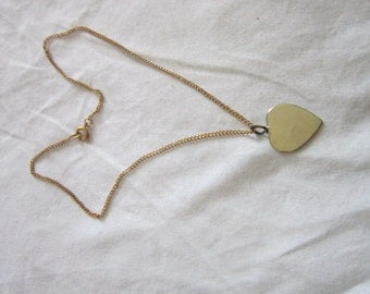 Vintage Gold tone Heart Charm or Pendant with 16 inch Chain Necklace