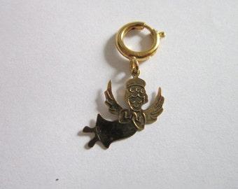 Very Cute Gold Tone Flying Angel Charm