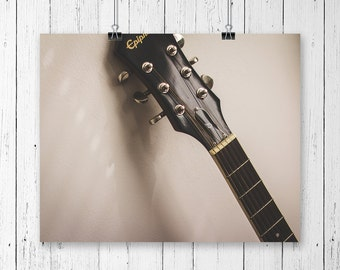 Acoustic Guitar Art Music Wall Decor Guitar Print Rock n Roll Decor Guitar Neck Guitar Strings Minimalist Fine Art Photography Print