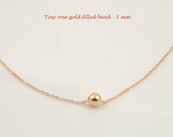 Tiny Bead Necklace, Rose Gold Necklace Dainty Jewelry, Layering Necklace, Minimalist Necklace, Simple Necklace Delicate Everyday Wear