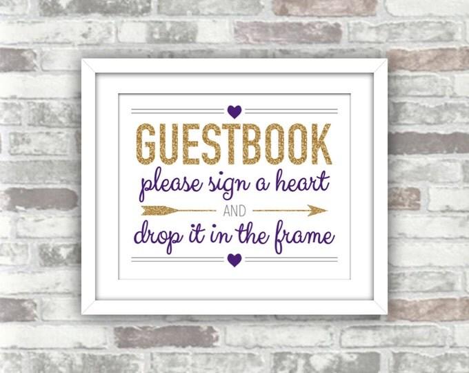 INSTANT DOWNLOAD - Printable Wedding Drop Top Heart Guestbook Frame Guest Book Sign - Digital File - Gold Glitter Effect Dark Purple - 8x10