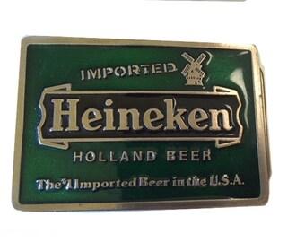 Vintage Heineken Beer Belt Buckle - Summer Sale - Advertising - Label