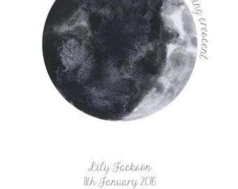 Personalised watercolour Moon phase birth print lunar astrology Wicca baby