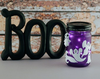 Hand painted purple ghost lighted jar, small pint-sized Mason jar desk or table Halloween decor