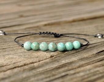 Amazonite Yoga Bracelet, Throat Chakra, Heart Chakra, Meditation Bracelet, Gemstone Therapy, Minimalist, Clairvoyance