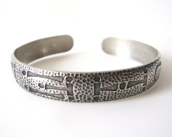 Wohelo Camp Fire Girl Sterling Silver Cuff Bracelet With Textured Design