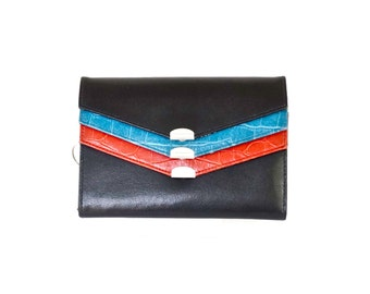 Oversized Ladies Wallet//Bonded Leather Clutch// Black Blue and Red Extra Large Clutch Wallet