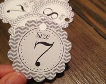 Flip Flop Size Tags for Weddings, Bar Bat Mitzvah, Birthday, Sweet 16 // Printable Digital File // Instant Download PDF