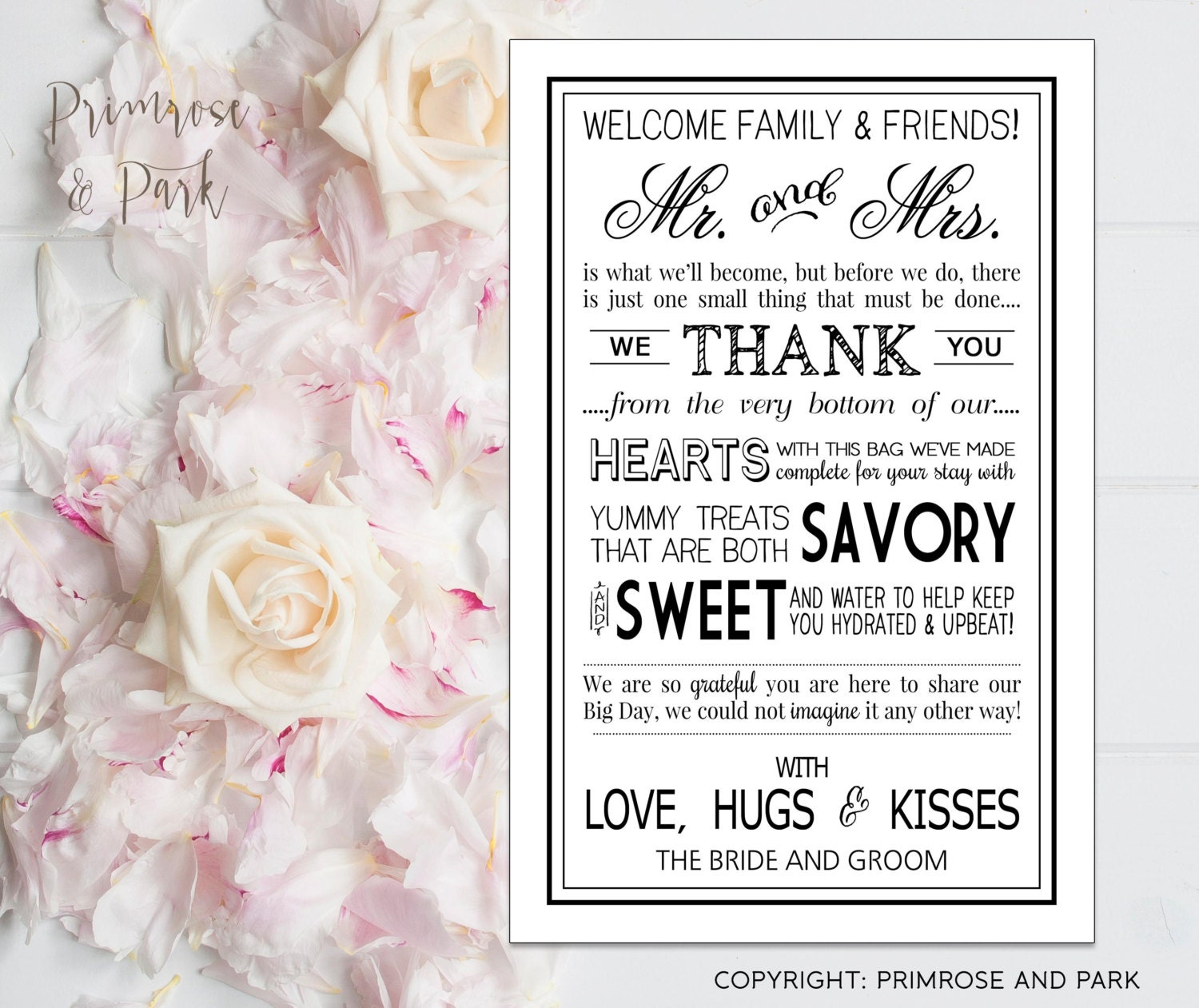 Wedding Welcome Letter Printable PDF in Black // Wedding