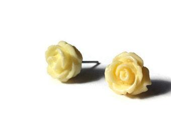 Yellow Rose Studs - Flower Earrings