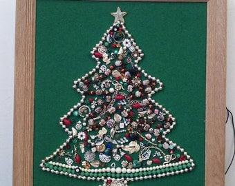 Mid Century Jewelry Christmas Tree Wall Art Framed on Felt