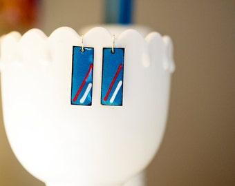 Red, White & Blue Enamel Earrings
