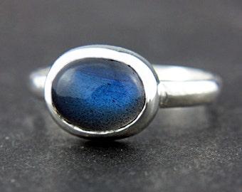 Natural Labradorite Ring Sterling Silver Blue Labradorite Ring Size 6 Labradorite Oval Shape Ring