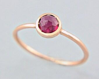 Rhodolite Garnet Rose Gold Ring 14k Gold Rose Cut Pink Garnet Gold Ring Made in Your Size Alternative Engagement Ring Pink Engagement Ring
