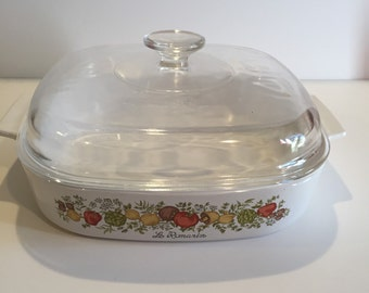 Vintage Le Romarin Casserole dish with lid by Corningware