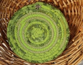 Lime green coiled trivet