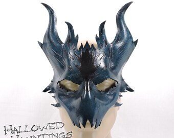 Leather Dragon Mask - Blue & Black - Drake, Demon, LARP, Halloween