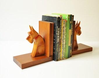 Vintage Scottie Dog Bookends -Wooden Book Ends